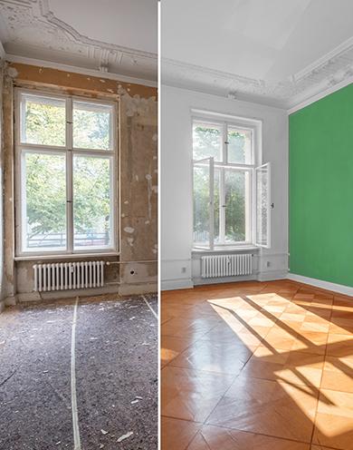 Bild zeigt einen unrenovierten und renovierten Raum im direkten vorher nachher Vergleich. Links auf dem Bild ist ein Raum im unrenoviertem Zustand zu sehen. Der Boden ist mit Vlies abgeklebt und und die Wände sind nicht verputzt. Auf der rechten Seite des Bildes ist derselbe Raum im renoviertem Zustand zu sehen und der Boden ist nun verlegt und die Wände sind verputzt und in grüner und weißer Farbe gestrichen.